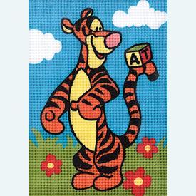 Disney, Tigger - halve kruissteekpakket Vervaco | Handwerkpakket voor kinderen, te borduren op geschilderd stramien, in halve kruissteek  | Artikelnummer: vvc-1794