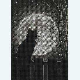 Black Moon Cat - borduurpakket met telpatroon Dimensions |  | Artikelnummer: dim-70-65212