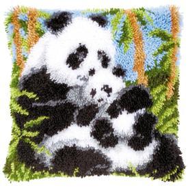 Panda's - smyrna kussen Vervaco | Knoopkussen met panda beren | Artikelnummer: vvc-21853