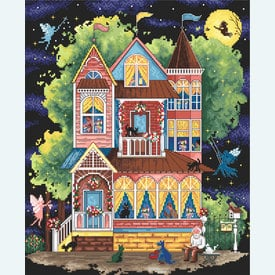 Fairy Tale House - borduurpakket met telpatroon Letistitch |  | Artikelnummer: leti-937