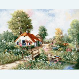 Village Landscape - borduurpakket met telpatroon Luca-S  |  | Artikelnummer: luca-bu4011