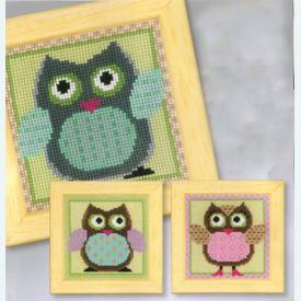 Funny Owls Trio - set van 3 borduurpakketjes met telpatroon Vervaco |  | Artikelnummer: vvc-149740