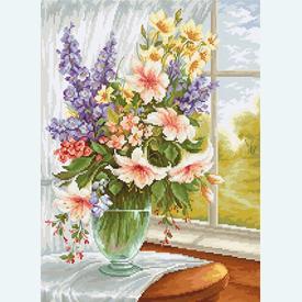 Flowers at the Window 5 - kruissteekpakket met telpatroon Luca-S |  | Artikelnummer: luca-bu4015