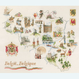 Map of Belgium - borduurpakket met telpatroon Lanarte |  | Artikelnummer: ln-173689