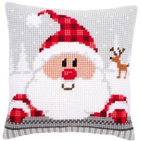 Santa in a Plaid Hat - Vervaco Kruissteekkussen |  | Artikelnummer: vvc-148061