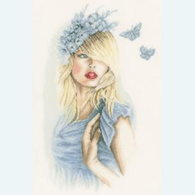 Blue Butterflies - borduurpakket met telpatroon Lanarte |  | Artikelnummer: ln-155691