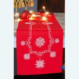 White Christmas Stars loper - voorgedrukt borduurpakket - Vervaco |  | Artikelnummer: vvc-155278