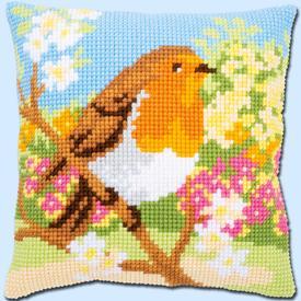 Robin in the Garden - Vervaco Kruissteekkussen |  | Artikelnummer: vvc-164299
