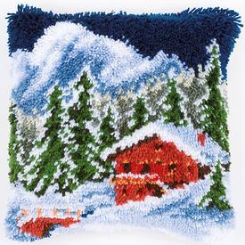 Winter Mountains - knoopkussen Vervaco | Smyrna kussen met winter landschap | Artikelnummer: vvc-153601