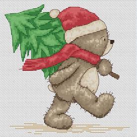 Teddy Bruno - Christmas Tree - borduurpakket met telpatroon Luca-S |  | Artikelnummer: luca-b1095