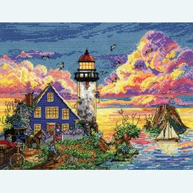 Lighthouse Sunset - borduurpakket met telpatroon Design Works |  | Artikelnummer: dw-2923