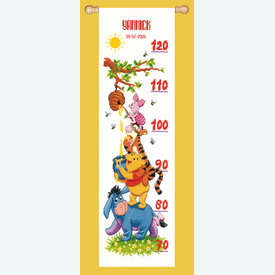 Growing Chart: Harvesting Honey - Disney borduurpakket met telpatroon Vervaco | Groeimeter Winnie the Pooh | Artikelnummer: vvc-14848
