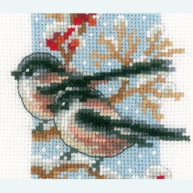 Long-tailed Tits and Red Berries - Set van 3 borduurpakketjes met telpatroon Vervaco |  | Artikelnummer: vvc-166427