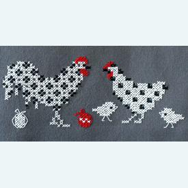 Rooster and Chicken theenap - voorgedrukt borduurpakket - Vervaco |  | Artikelnummer: vvc-186078