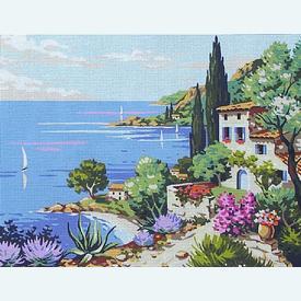 Mediterranean - bundel van geschilderd stramien + borduurwol, te borduren in halve kruissteek |  | Artikelnummer: rp-142-113-bundel