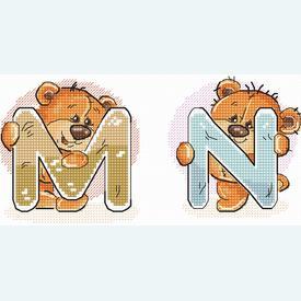 Teddy Bears Alphabet - borduurpakket met telpatroon Luca-S |  | Artikelnummer: luca-b1201