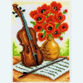 Violin with Poppies - handwerkpakket met telpatroon Vervaco |  | Artikelnummer: vvc-70301