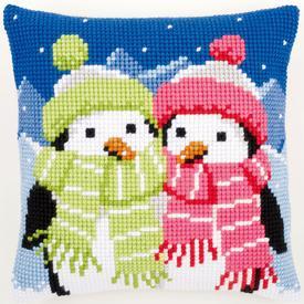 Penguins with Scarf - Vervaco Kruissteekkussen |  | Artikelnummer: vvc-147690