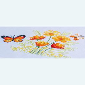 Orange Flowers and Butterflies theenap - voorgedrukt borduurpakket - Vervaco |  | Artikelnummer: vvc-187348