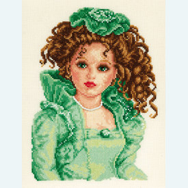 Doll in Green Dress - borduurpakket met telpatroon Vervaco |  | Artikelnummer: vvc-75031