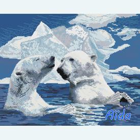 Ice Bears Enjoying the Sunrays - borduurpakket met telpatroon Nafra | stof = Aïda | Artikelnummer: nf-nafra21082a