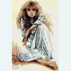 Seated Girl with White Dress - borduurpakket met telpatroon Lanarte |  | Artikelnummer: ln-34846