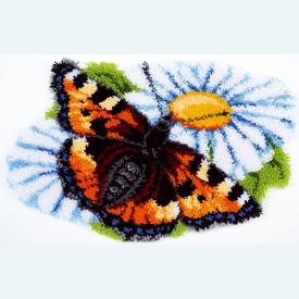 Butterfly & Daisies - knooptapijt Vervaco | Smyrna tapijt met vlinder en margrieten | Artikelnummer: vvc-154242