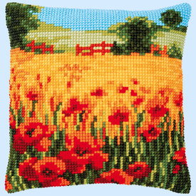 Poppies Landscape - Vervaco Kruissteekkussen |  | Artikelnummer: vvc-187767