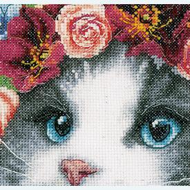 Ragdoll in Flowers - Lanarte borduurpakket met telpatroon - evenweave | Secret Stitch Along 2021-1 | Artikelnummer: ln-189340
