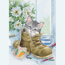 Cute Kitten - borduurpakket met telpatroon Luca-S |  | Artikelnummer: luca-b2391