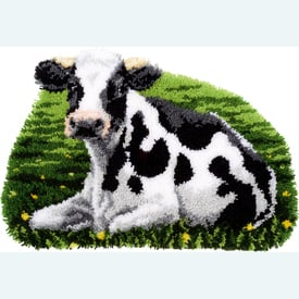 Resting Cow - knooptapijt Vervaco | Smyrna tapijt met koe | Artikelnummer: vvc-157078