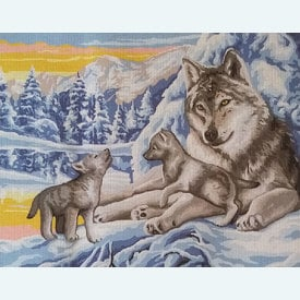 Winter Wolves - bundel van geschilderd stramien + borduurwol, te borduren in halve kruissteek |  | Artikelnummer: rp-132-231-bundel