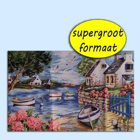 Brittany - bundel van geschilderd stramien + borduurwol, te borduren in halve kruissteek |  | Artikelnummer: rp-146-001