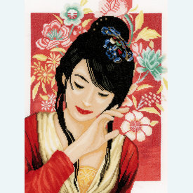 Asian Flower Girl - borduurpakket met telpatroon Lanarte |  | Artikelnummer: ln-150000