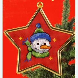 Snowman with Blue Hat - borduurpakket met telpatroon Vervaco      Artikelnummer: vvc-40920