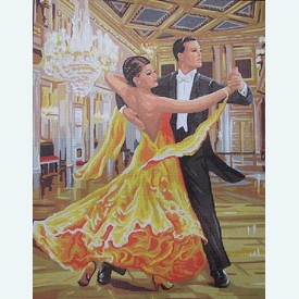 Ballroom Dancing - bundel van geschilderd stramien + borduurwol, te borduren in halve kruissteek |  | Artikelnummer: rp-142-546-bundel