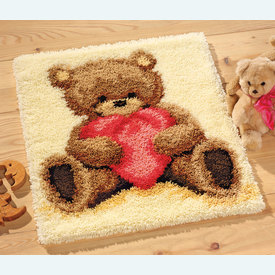 Popcorn - knooptapijt Vervaco | Smyrna tapijt met Popcorn teddybeer | Artikelnummer: vvc-11093