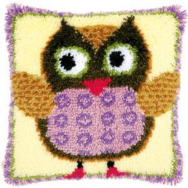 Miss Owl - knoopkussen Vervaco | Smyrna kussen met uil | Artikelnummer: vvc-148894
