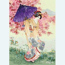 Cherry Tree of Dreams - borduurpakket met telpatroon Letistitch      Artikelnummer: leti-953