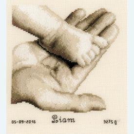 Baby Foot on Hand - handwerkpakket met telpatroon - Vervaco |  | Artikelnummer: vvc-156487