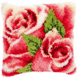 Pink Roses - smyrna kussen Vervaco | Knoopkussen met rozen | Artikelnummer: vvc-146445