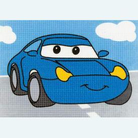 Sally - Cars - Disney - halve kruissteekpakket Vervaco | Handwerkpakket voor kinderen, te borduren op geschilderd stramien, in halve kruissteek  | Artikelnummer: vvc-1749