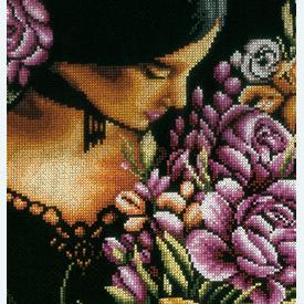 Woman with Flowers - borduurpakket met telpatroon Lanarte |  | Artikelnummer: ln-165378