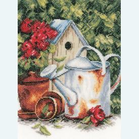 Watering Can and Birdhouse - borduurpakket met telpatroon Lanarte |  | Artikelnummer: ln-167124
