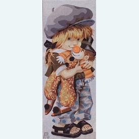 Clowny Pio - bundel van geschilderd stramien + borduurwol, te borduren in halve kruissteek      Artikelnummer: rp-137-071