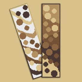 Set van 2 bladwijzers - Dots and Waves - borduurpakketten met telpatroon Nafra |  | Artikelnummer: nf-nafra21034