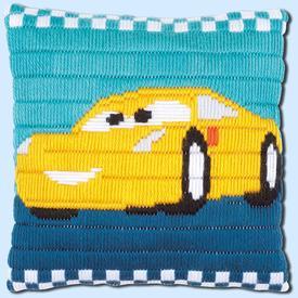 Cruz - Cars Disney platsteek kussen - Vervaco | Handwerkpakket voor kinderen om zelf te maken | Artikelnummer: vvc-169749