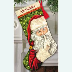 Secret Santa Stocking - borduurpakket met telpatroon Dimensions |  | Artikelnummer: dim-70-08938
