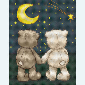 Teddy Bruno and Bianca - In the Moonlight - borduurpakket met telpatroon Luca-S |  | Artikelnummer: luca-b1091