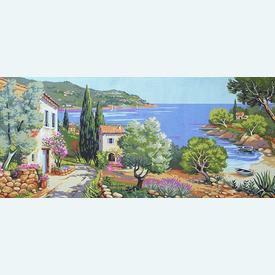 Coast - bundel van geschilderd stramien + borduurwol, te borduren in halve kruissteek |  | Artikelnummer: rp-163-058